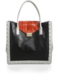 Loeffler Randall Leather & Snakeskin Work Tote - Lyst