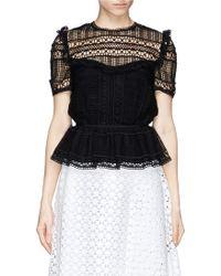 Erdem 'Alma' Greenhouse Lace Puff Sleeve Top black - Lyst