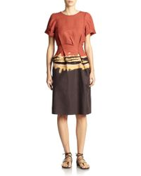 Bottega Veneta Printed Pleat-Waist Dress - Lyst