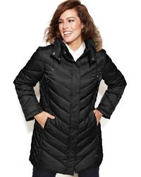 Kenneth Cole Reaction Plus Size Hooded Fauxfurtrim Quilted Down Puffer - Lyst
