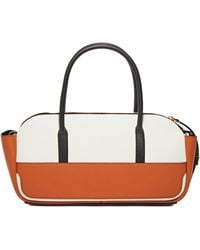 Marni Women's Leather Travel Bag In White And Rust - Orange
