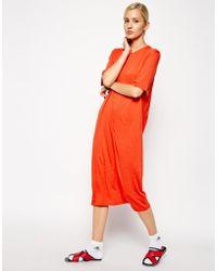 Asos White Pleat Back Dress - Lyst