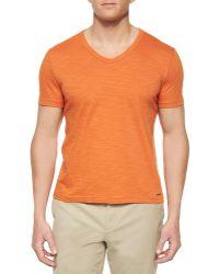 Michael Kors Slub-Knit V-Neck Tee orange - Lyst
