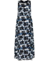 L'Agence Striped And Palm-Tree Print Sleeveless Dress - Lyst