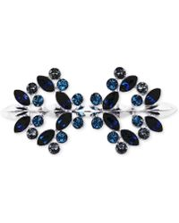 Givenchy Silvertone Swarovski Montana Sapphire And Black Diamond Crystal Pin - Metallic