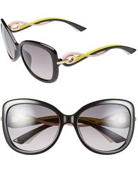 Dior Women'S 'Twisting' Oversized 58Mm Sunglasses - Black/ Yellow - Lyst
