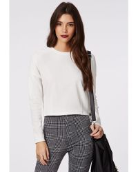 Missguided Therese Rib Long Sleeve Sweat White - Lyst