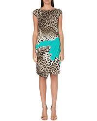 Roberto Cavalli Leopardprint Crepe Dress Blue - Lyst