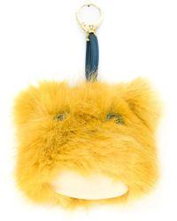 Shrimps Faux Fur Pom-pom Keyring - Yellow
