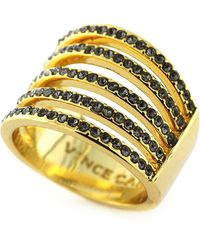 Vince Camuto Gold Tone and Crystal Multi Band Wide Ring - Lyst