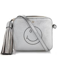 Anya Hindmarch Smiley Leather Cross-Body Bag silver - Lyst