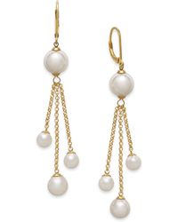 Majorica 18k Gold Vermeil Over Sterling Silver Organic Man-made Pearl Chain Drop Earrings - Lyst