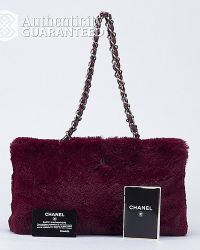 Chanel Preowned Burgundy Lapin Shoulder Bag - Lyst