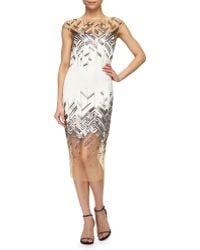 Lela Rose Chevron-Beaded Tulle-Inset Sheath Dress - Lyst
