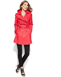 DKNY Petite Double-Breasted Trench Coat - Lyst