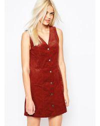 Monki Cord Button Detail Dress - Red