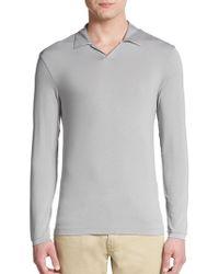 Armani Jersey Knit Long-Sleeve Polo Shirt - Lyst