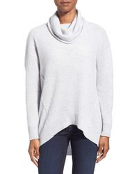 Kinross Cashmere - Exposed Seam Cashmere Cowl Neck Sweater - Lyst