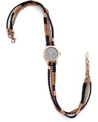 Sara Designs - Leather & Chain Wrap Watch - Navy/rose Gold - Lyst