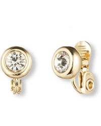 Anne Klein - Gold Tone Crystal Clips Earrings - Lyst