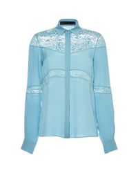 Elie Saab Blue Double Silk Georgette and Lace Shirt - Lyst