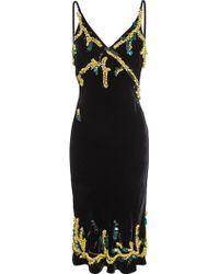 Meadham Kirchhoff Velvet Slip Dress - Black