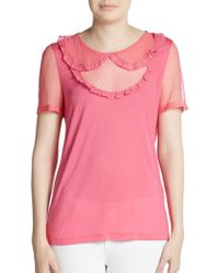 RED Valentino Tulle Peter Pan Short-sleeve Top - Lyst