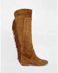 ALDO Cyndy Tan Suede Fringe Knee Boots - Brown