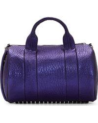 Alexander Wang Indigo Metallic Grained Leather Rocco Bag - Lyst