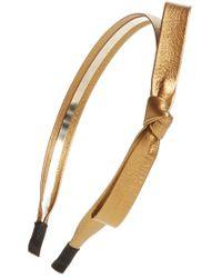 Cara Faux Leather Bow Headband - Metallic