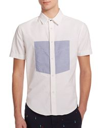 Band of Outsiders Contrast-Panel Cotton Sportshirt white - Lyst