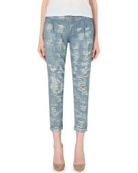 Free People Cropped Rugged Denim Jeans - Lyst