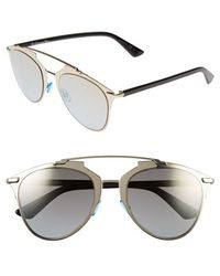 Dior Women'S 'Reflected' 52Mm Sunglasses - Light Gold/ Black - Lyst