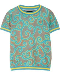 Sibling - - Printed Stretch Cotton-blend Top - Turquoise - Lyst