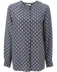 Alberto Biani Collarless Printed Shirt - Blue