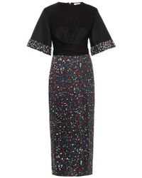 Issa Lucy Embellished-cuff Silk-jersey Dress - Lyst