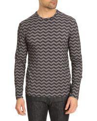 Armani Chevron Print Long-Sleeved T-Shirt - Lyst