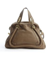 Chloé Barbour Khaki Leather Paraty Convertible Satchel - Lyst