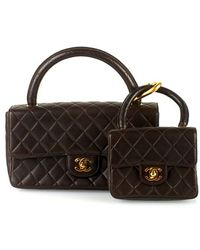 Chanel Pre-Owned Brown Quilted Half Flap Handbag With Mini brown - Lyst