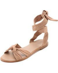 Zimmermann Ankle Tie Flat Sandals - Nude beige - Lyst