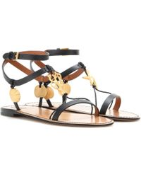 Valentino Embellished Leather Sandals - Lyst
