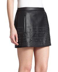 BCBGMAXAZRIA Remi Grommet-Detail Faux-Leather Skirt - Lyst