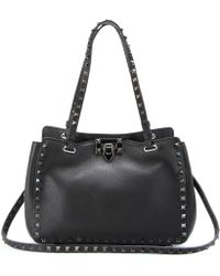 Valentino Rockstud Noir Small Leather Tote - Lyst