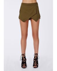 Missguided Verity Skort Khaki - Lyst