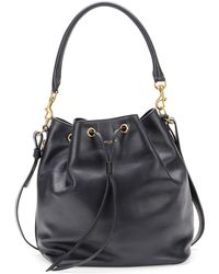 Saint Laurent Medium Bucket Shoulder Bag Navy - Lyst
