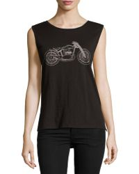 French Connection Motorcycle-Print Slub Tank - Lyst