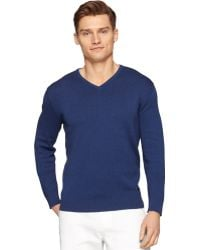 Calvin Klein Ck Premium Multi-Texture Block Slim-Fit V-Neck Sweater blue - Lyst