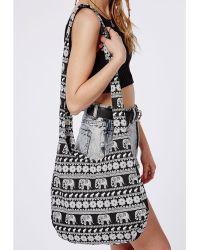 Missguided Elephant Slouchy Shoulder Bag - Black