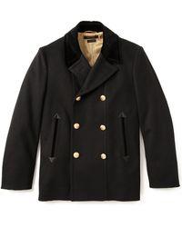 Marc Jacobs Velvet Collar Pea Coat - Black