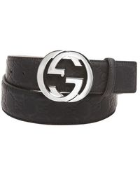 Gucci Black Rubberized Ssima Leather Gg Buckle Belt - Lyst